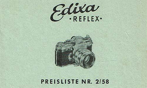 Edixa Reflex Preisliste1958 als PDF zum Download